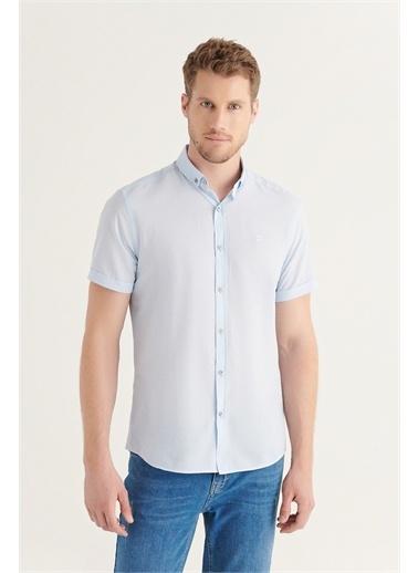 Avva Erkek Düz Düğmeli Yaka Slim Fit Kısa Kol Vual Gömlek A11B2210 Mavi